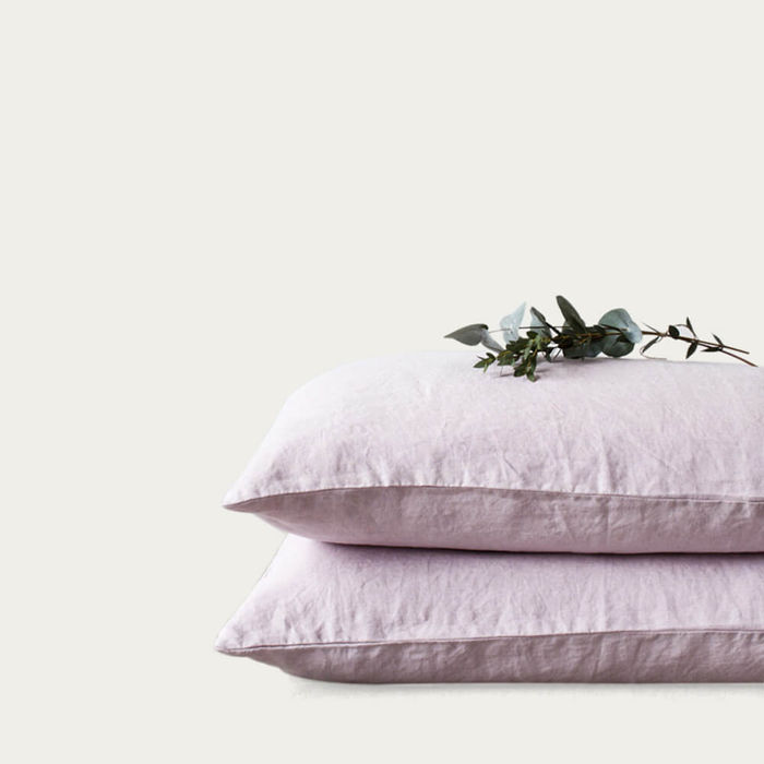 Pink Lavender Washed Linen Pillow Case | Bombinate