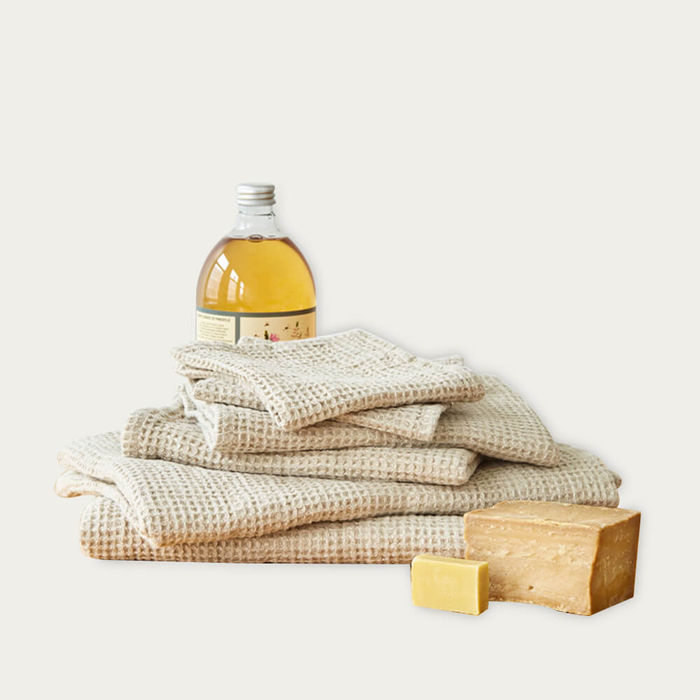 Beige Linen Waffle Towel | Bombinate