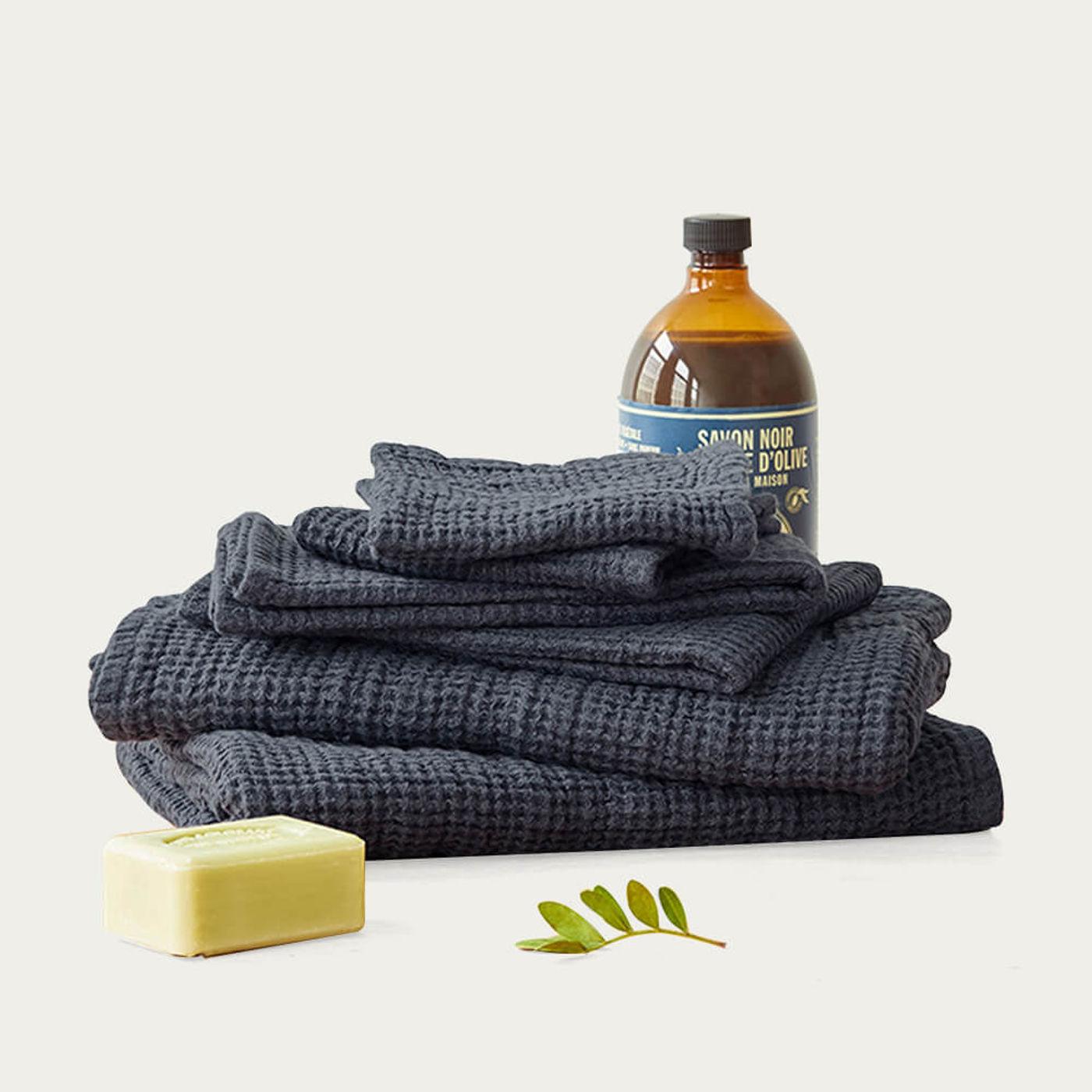 Dark Gray Linen Waffle Towel   Bombinate