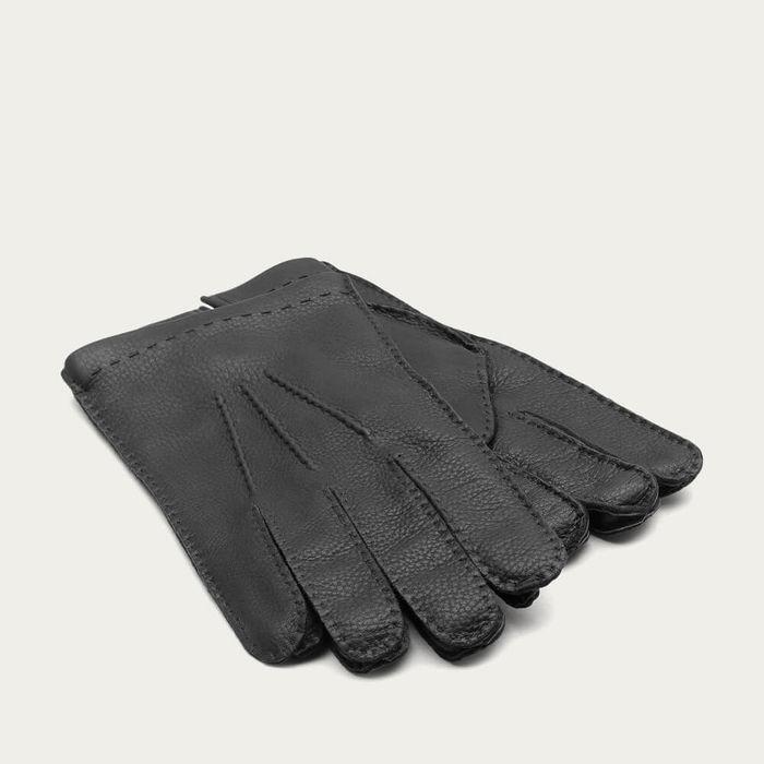 Black Pierluigi Handmade Deer Touch Leather Gloves | Bombinate
