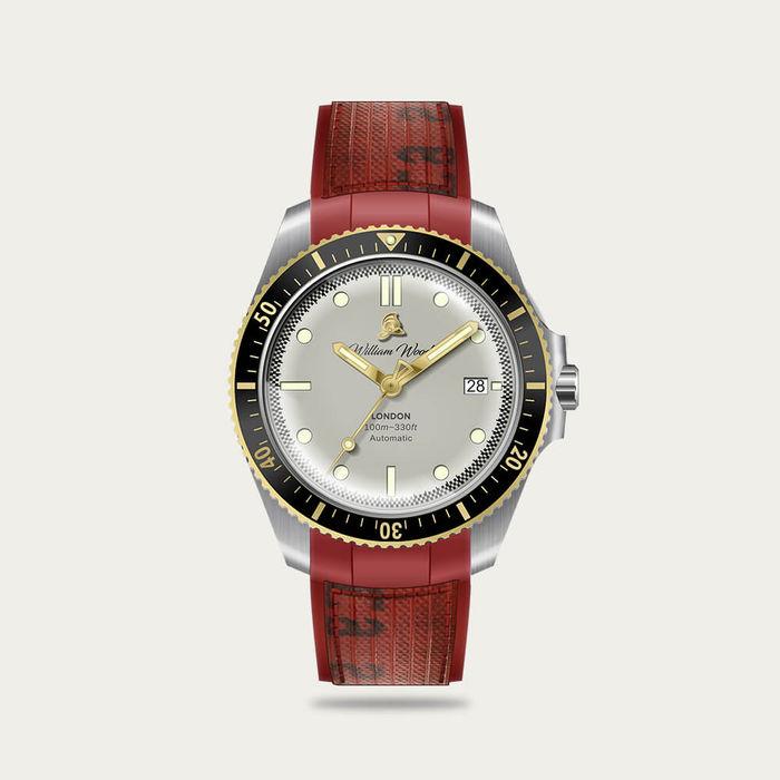 The Valiant White Watch / Fire Hose Strap   Bombinate