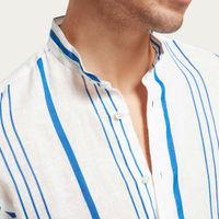 L1 Linen Shirt La Greca Korean Collar | Bombinate