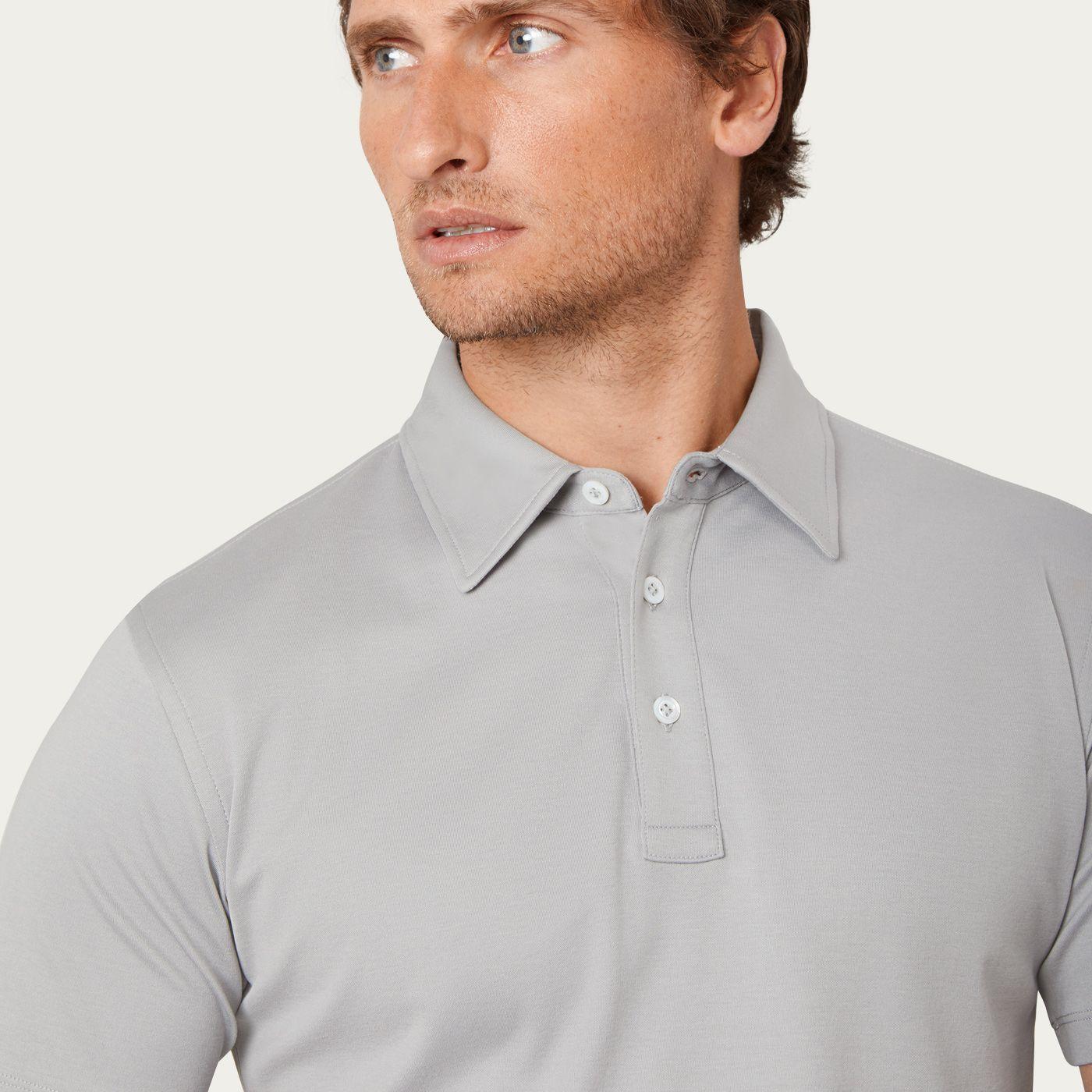 Alloy Grey Polo Shirt, Egyptian Cotton | Bombinate