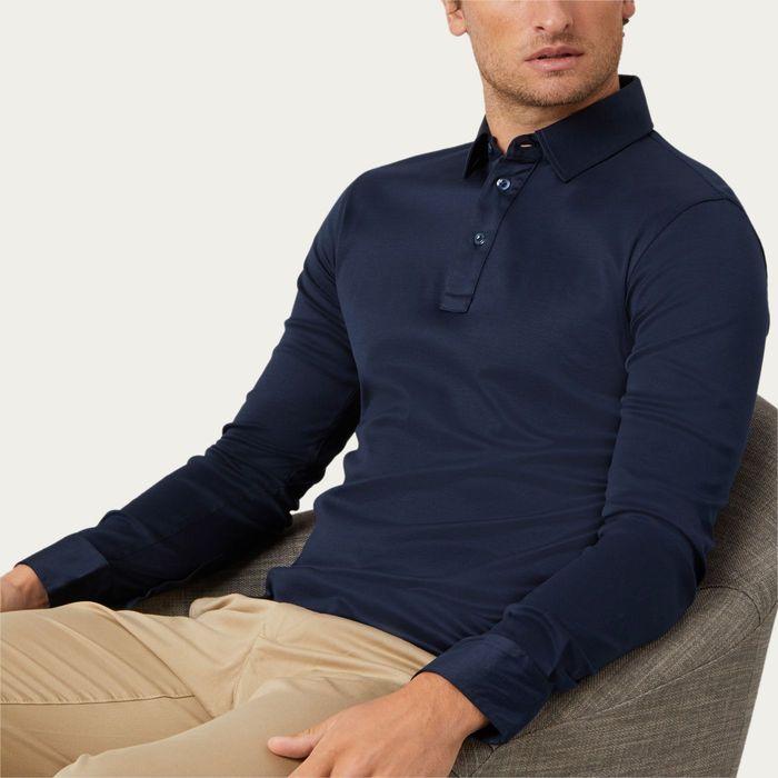 Inkwell Navy Long Sleeve Polo Shirt | Bombinate