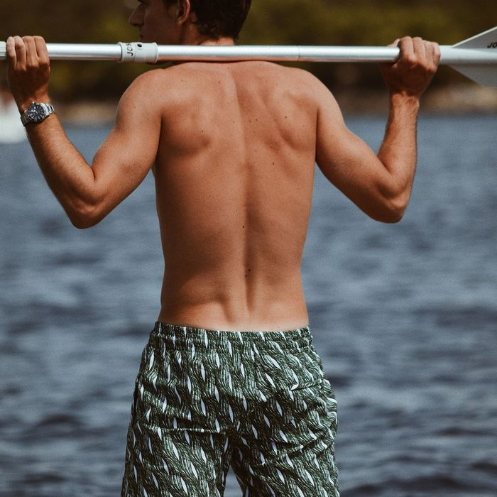 Dark Green Vagues Swim Shorts | Bombinate