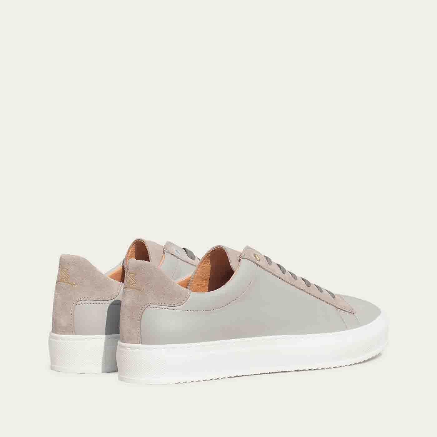 Pearl Grey Leather Taranta Sneakers   | Bombinate
