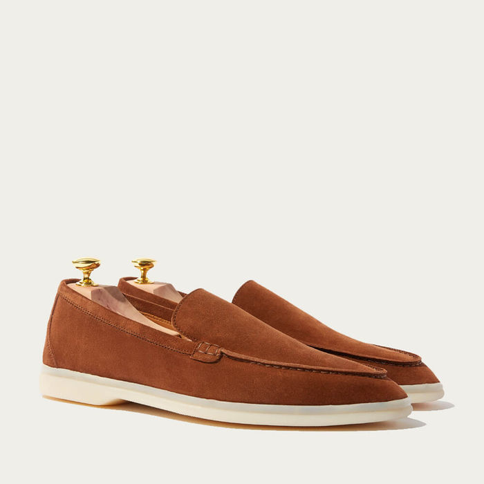 Brown Ludovico Scamosciato Suede Loafers | Bombinate