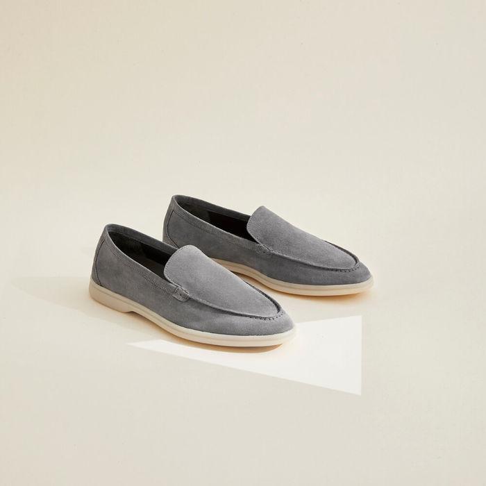 Grey Ludovico Scamosciato Suede Loafers | Bombinate