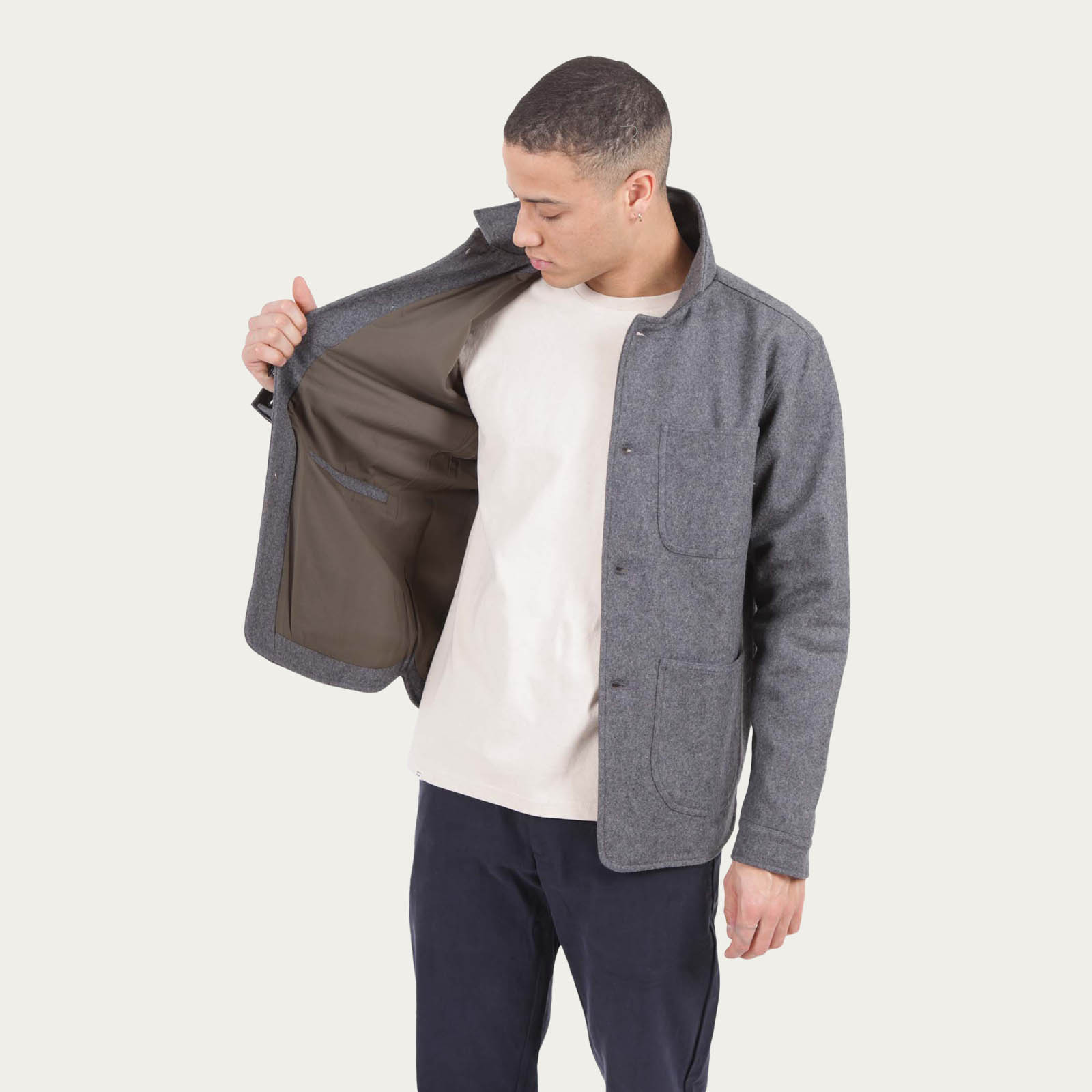 Grey Wool Utility Jacket | Bombinate