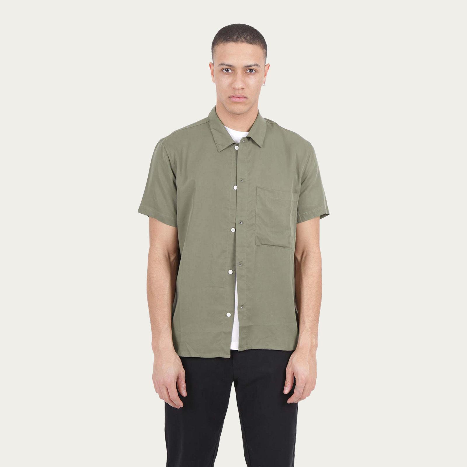 Olive Japanese Linen Tencel Shirt  | Bombinate