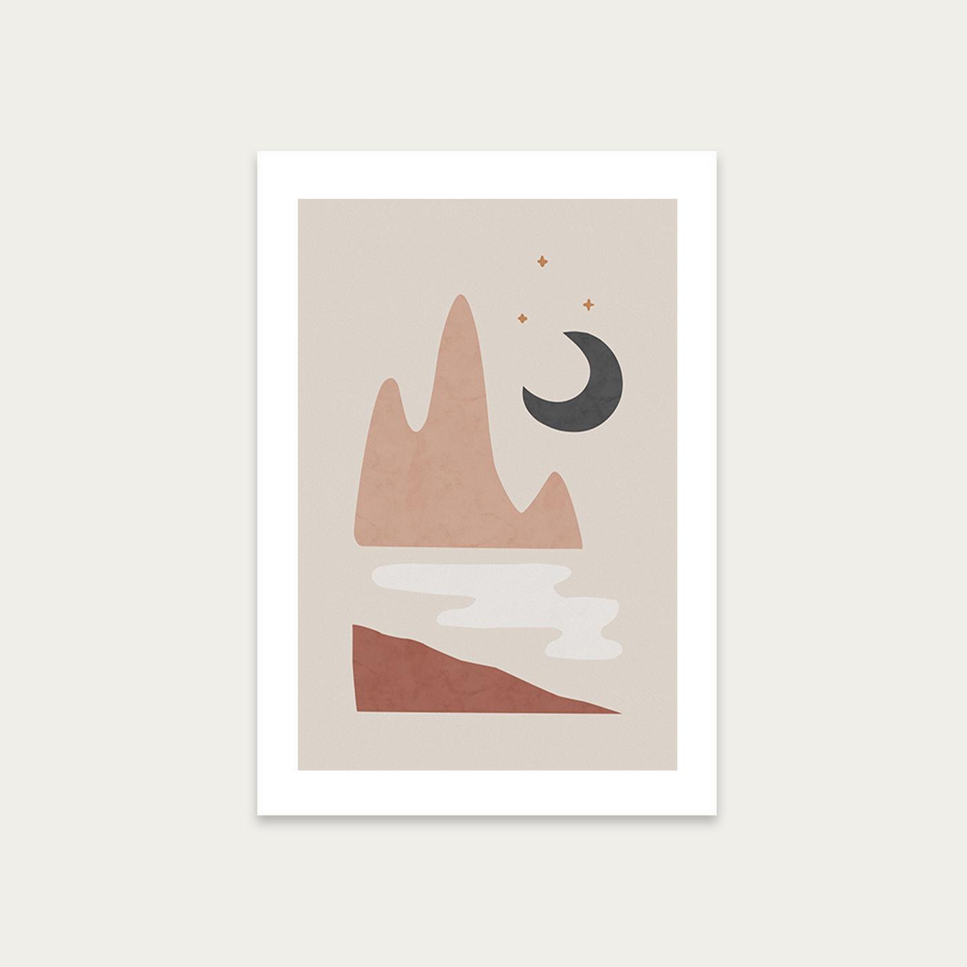 Landscape & Moon Art Print Unframed | Bombinate