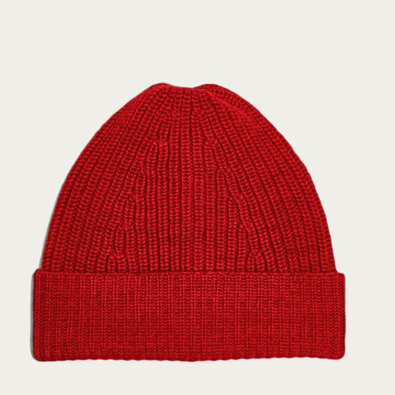 Red Merino Tuck Rib Beanie  0