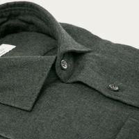 Dark Grey Washed Cashmere Flannel Shirt   Bombinate