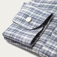Indigo Check Linen Shirt | Bombinate