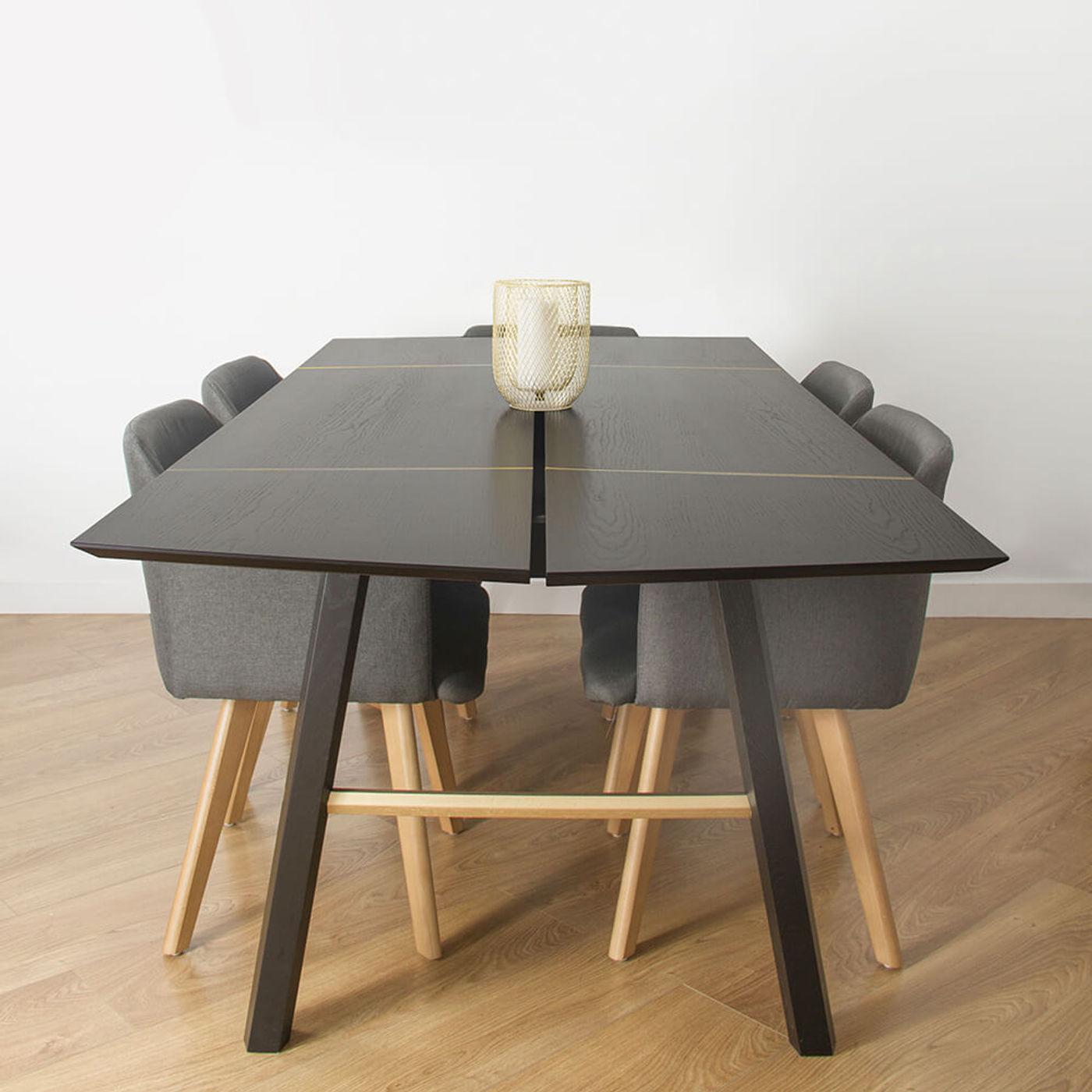 Black Wood/Gold Savia Table   Bombinate