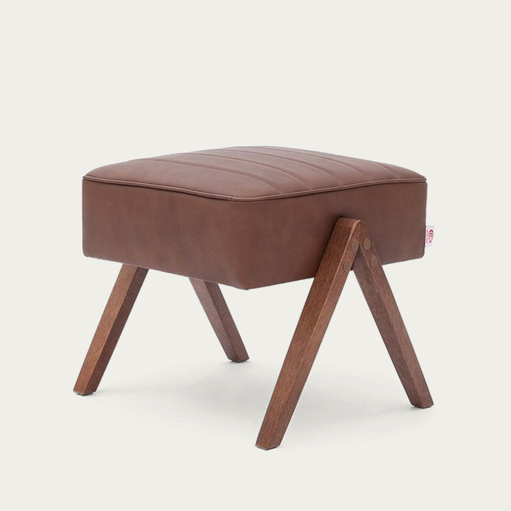 Brown Retrostar Footstool Leather | Bombinate