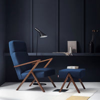 Navy Blue Retrostar Lounge Chair Velvet Line | Bombinate