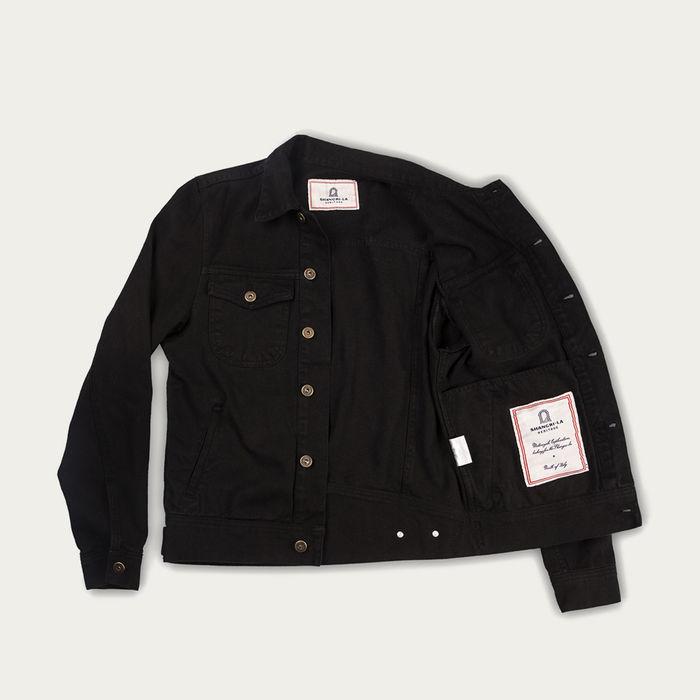 Black Raw Canvas Single Rider Jacket | Bombinate