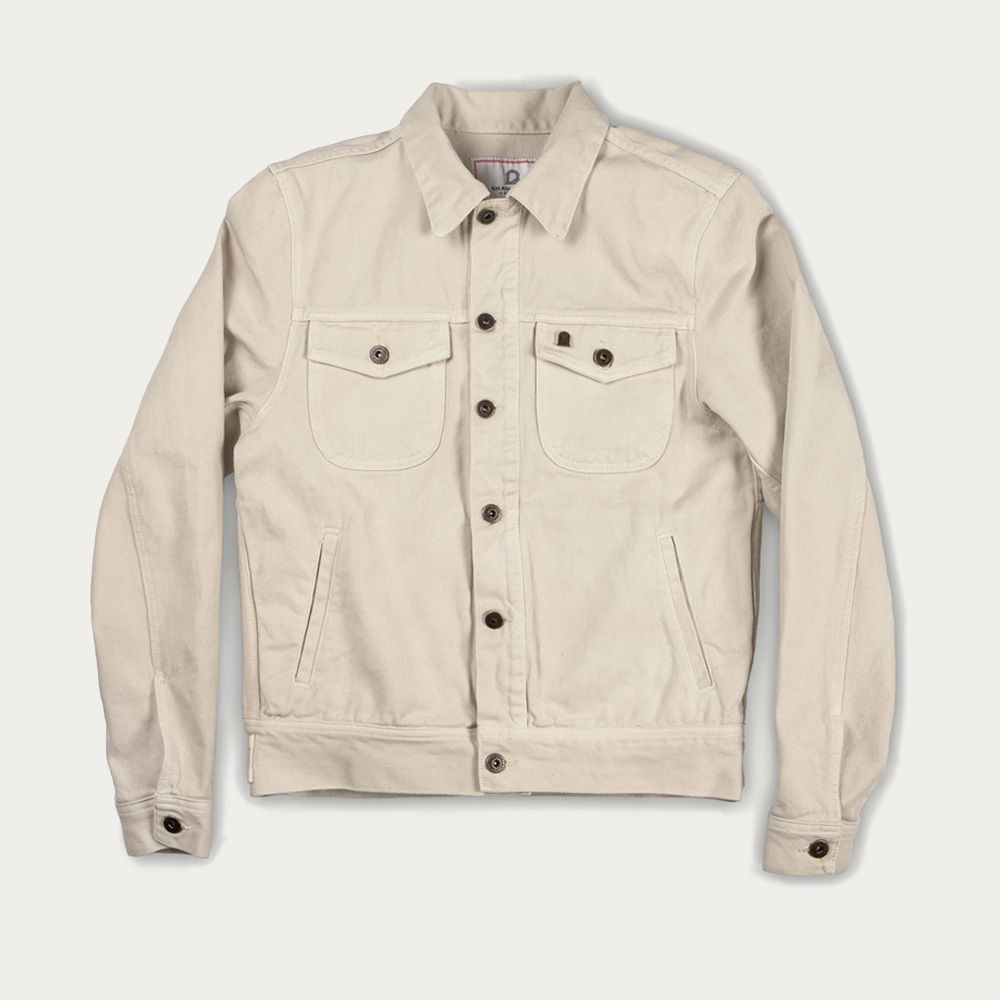Ivory Raw Canvas Single Rider Jacket | Bombinate
