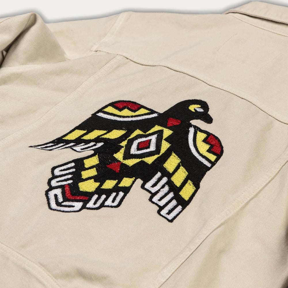 Ivory Raw Single Rider Canvas Jacket Sparviero Thunderbird Limited Edition  | Bombinate