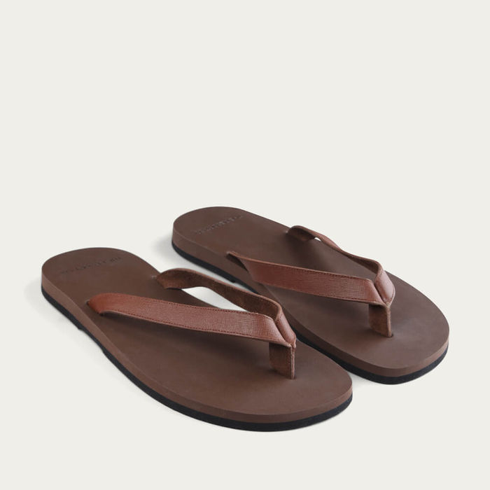 Brown Saffiano Leather Flip-Flops   Bombinate
