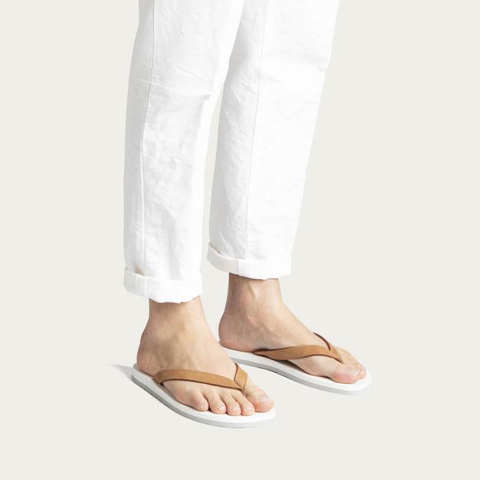 Cuoio White Nubuck Leather Flip-Flops | Bombinate