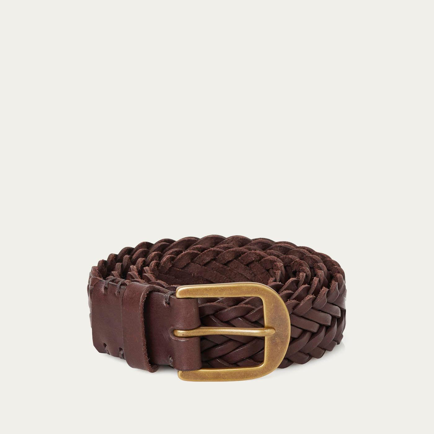 Walnut Brown/Brass Braided Belt  | Bombinate