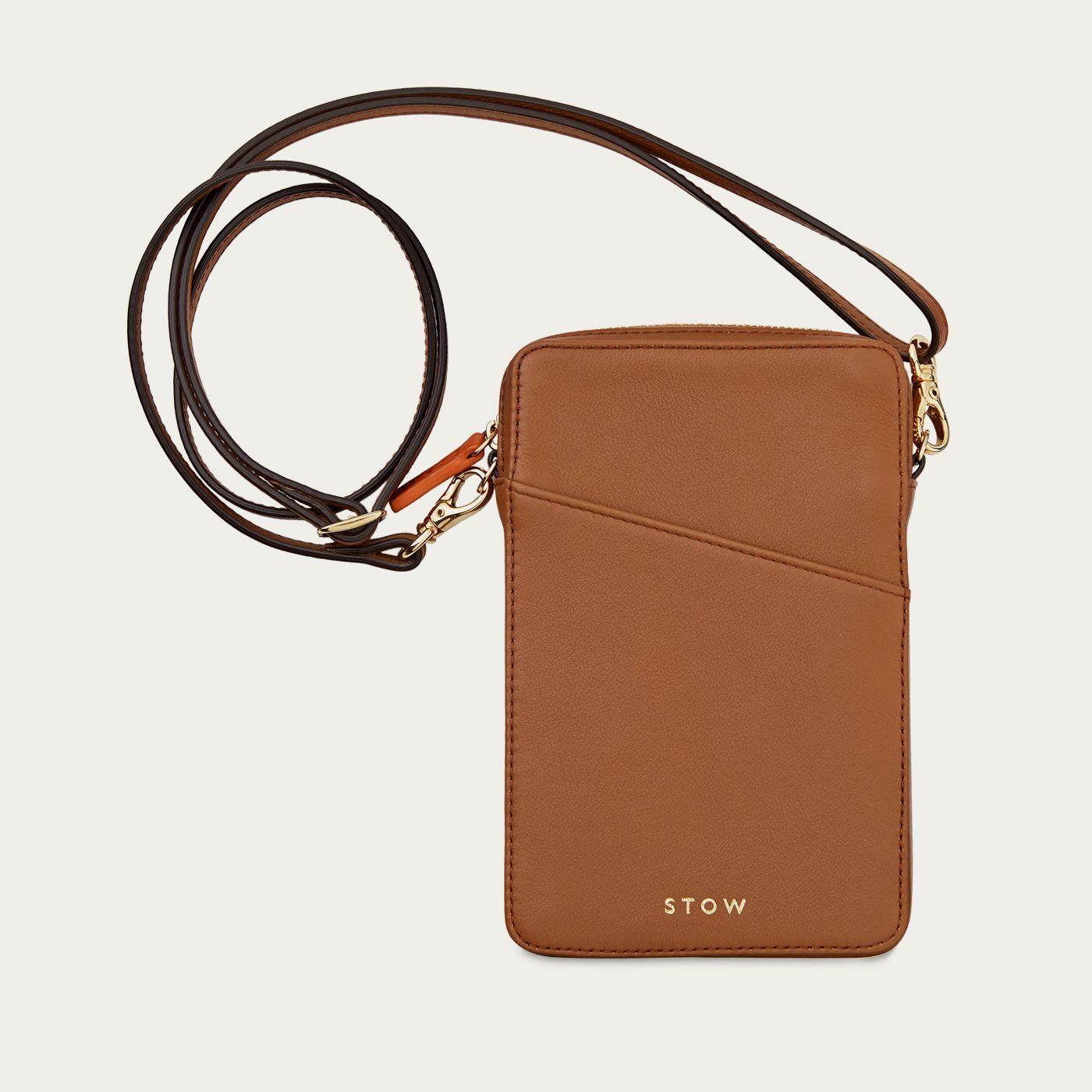 Sahara Tan Crossbody Leather Phone Wallet | Bombinate