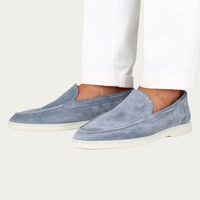 Light Blue Suede Yacht Loafer | Bombinate