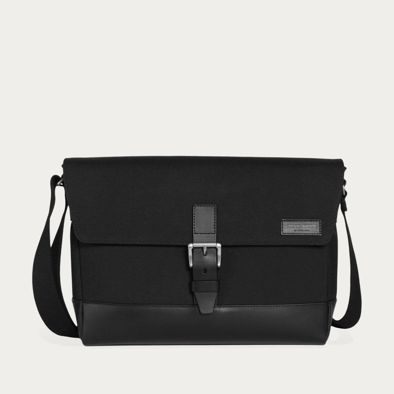 d3c547c757 Black Cordura / Black Leather Belleville Messenger Bag | Bombinate ...
