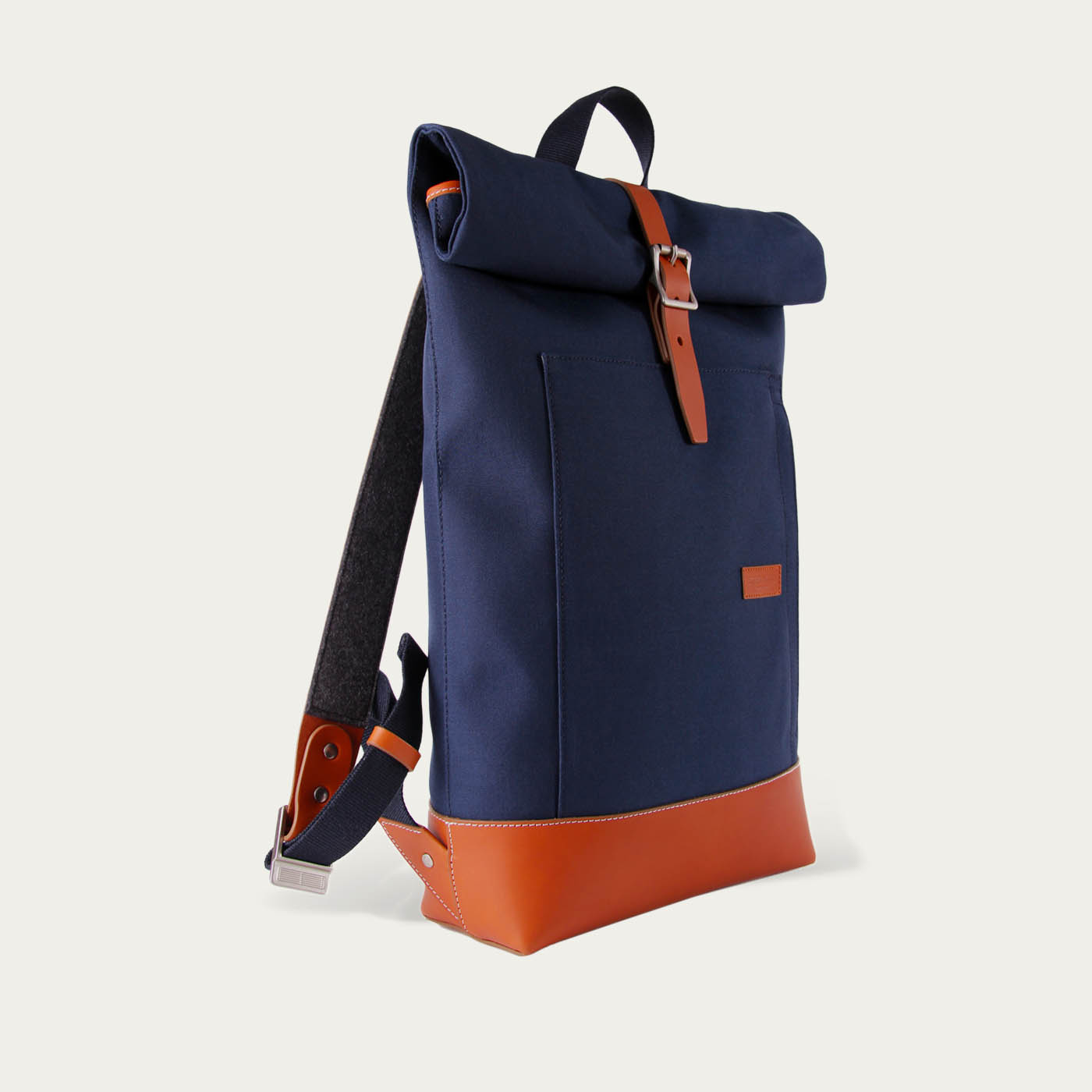 Navy/Camel Caulaincourt Roll-Top Backpack  | Bombinate