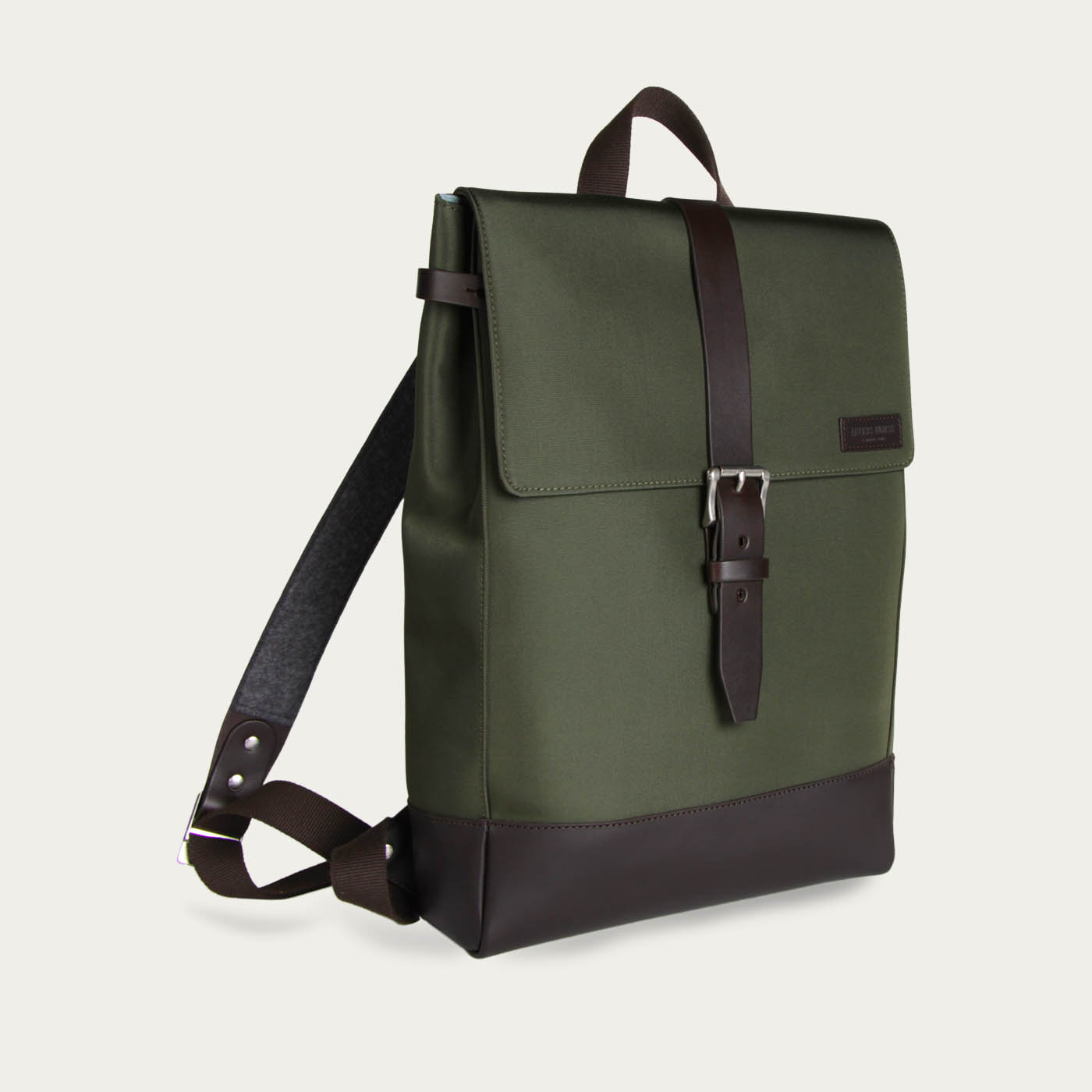Khaki Cordura / Brown Leather Menilmontant Backpack  | Bombinate