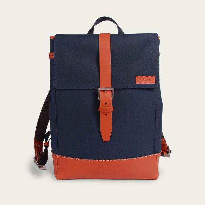 Blue Cordura / Tan Leather Menilmontant Backpack   | Bombinate