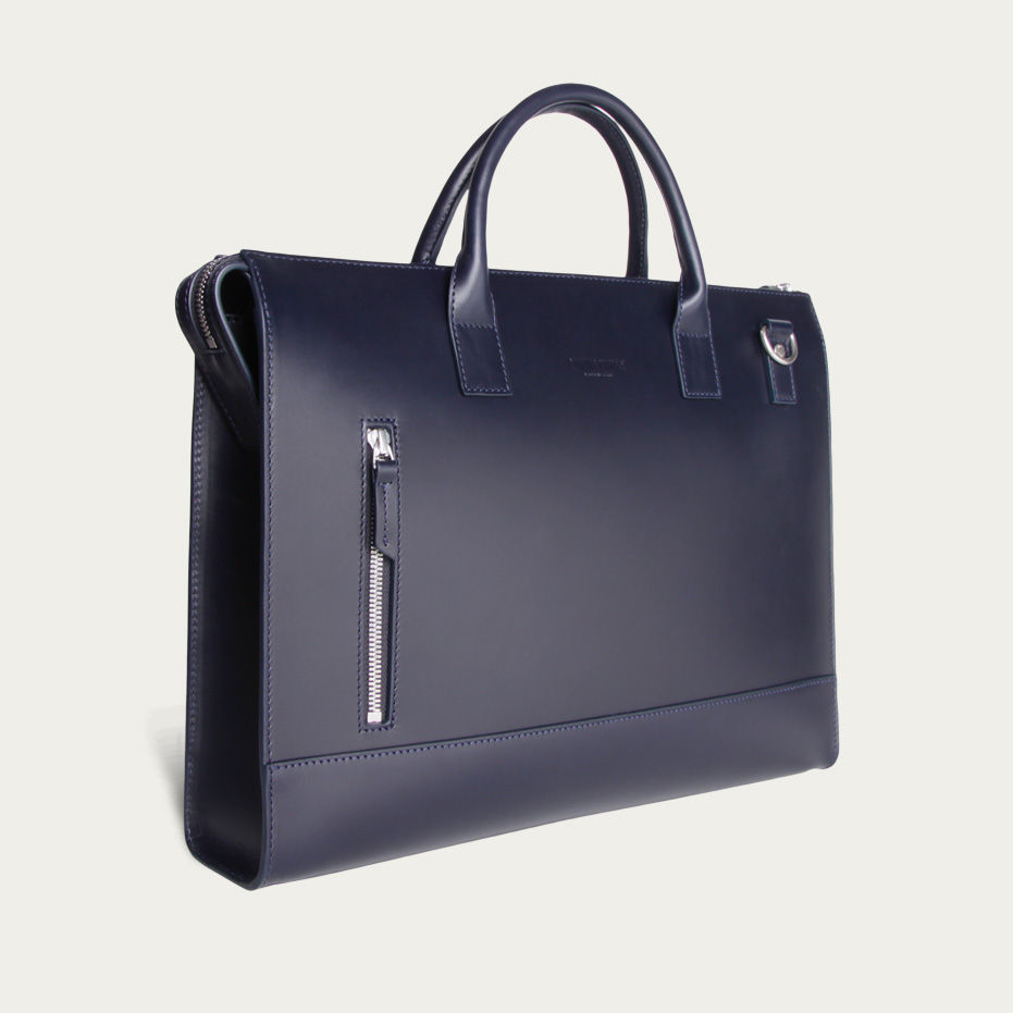 Navy Leather Suffren Briefcase | Bombinate