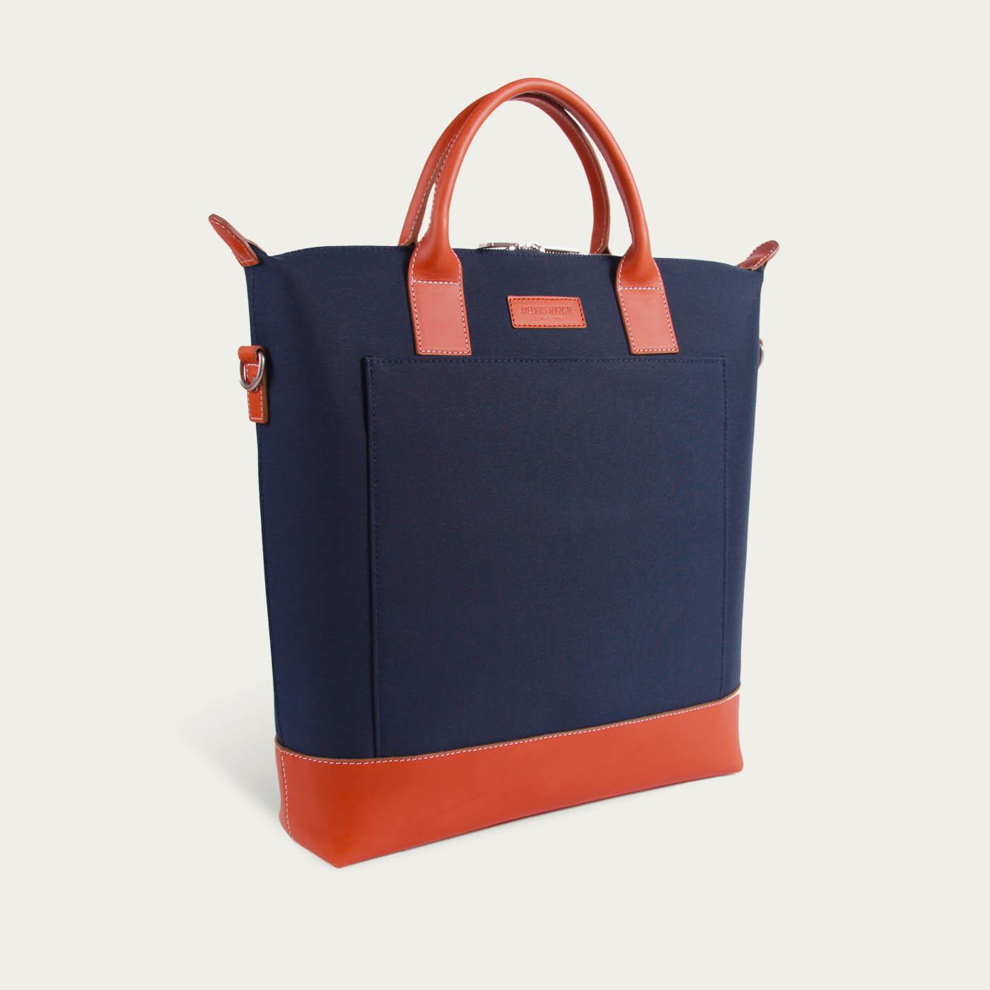 Blue Cordura / Tan Leather  Tiquetonne Tote Bag  | Bombinate