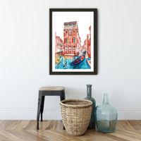 Venice Art Print Black Frame | Bombinate