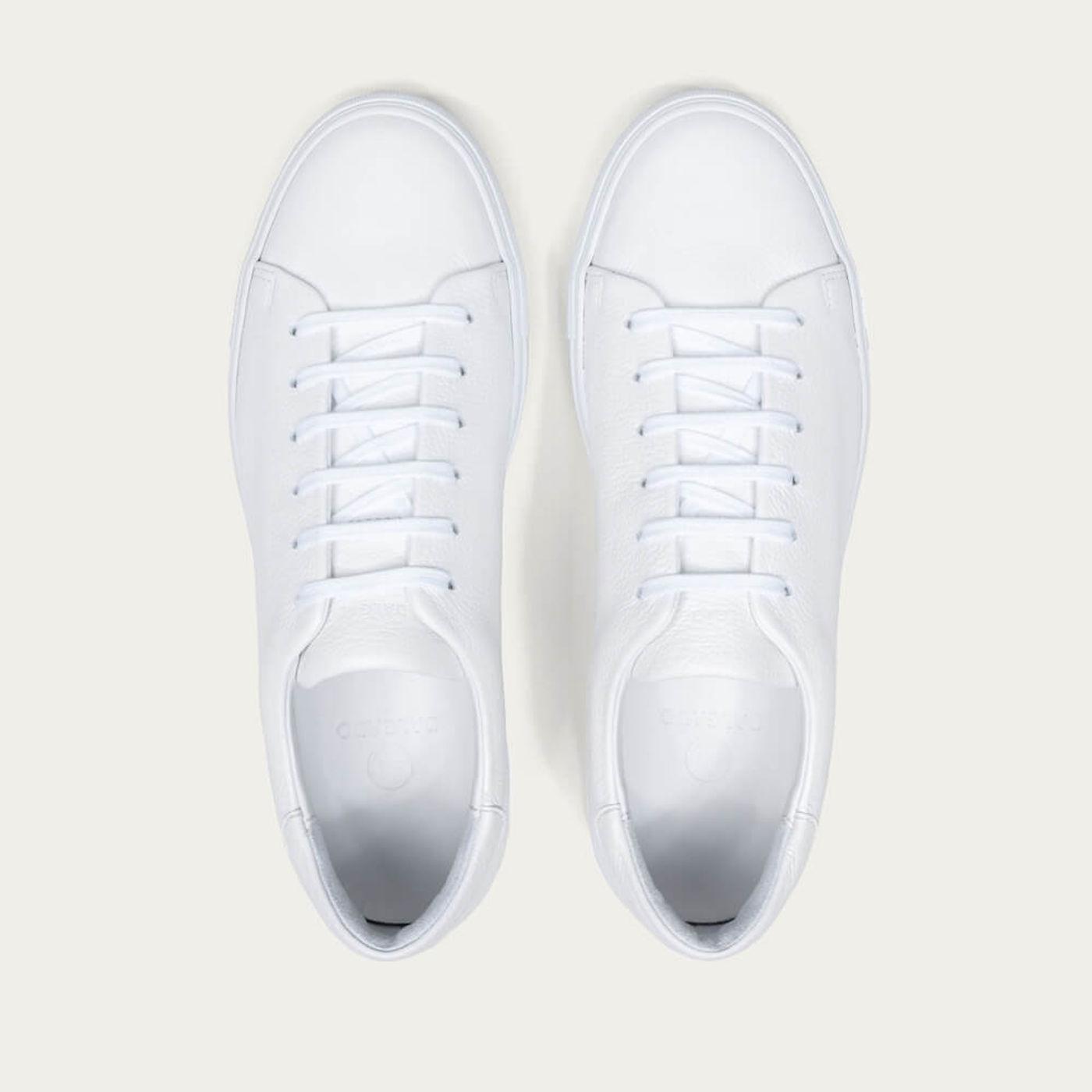 White Pierre Pebble Leather Sneaker   Bombinate