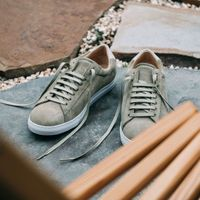 Olive Split Suede Low 1 Sneakers  | Bombinate