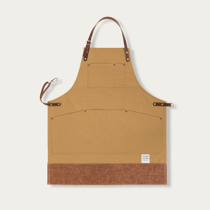 Brown Leather Trimmed Apron   | Bombinate