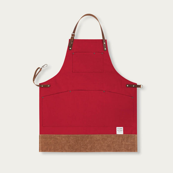 Red Leather Trimmed Apron | Bombinate