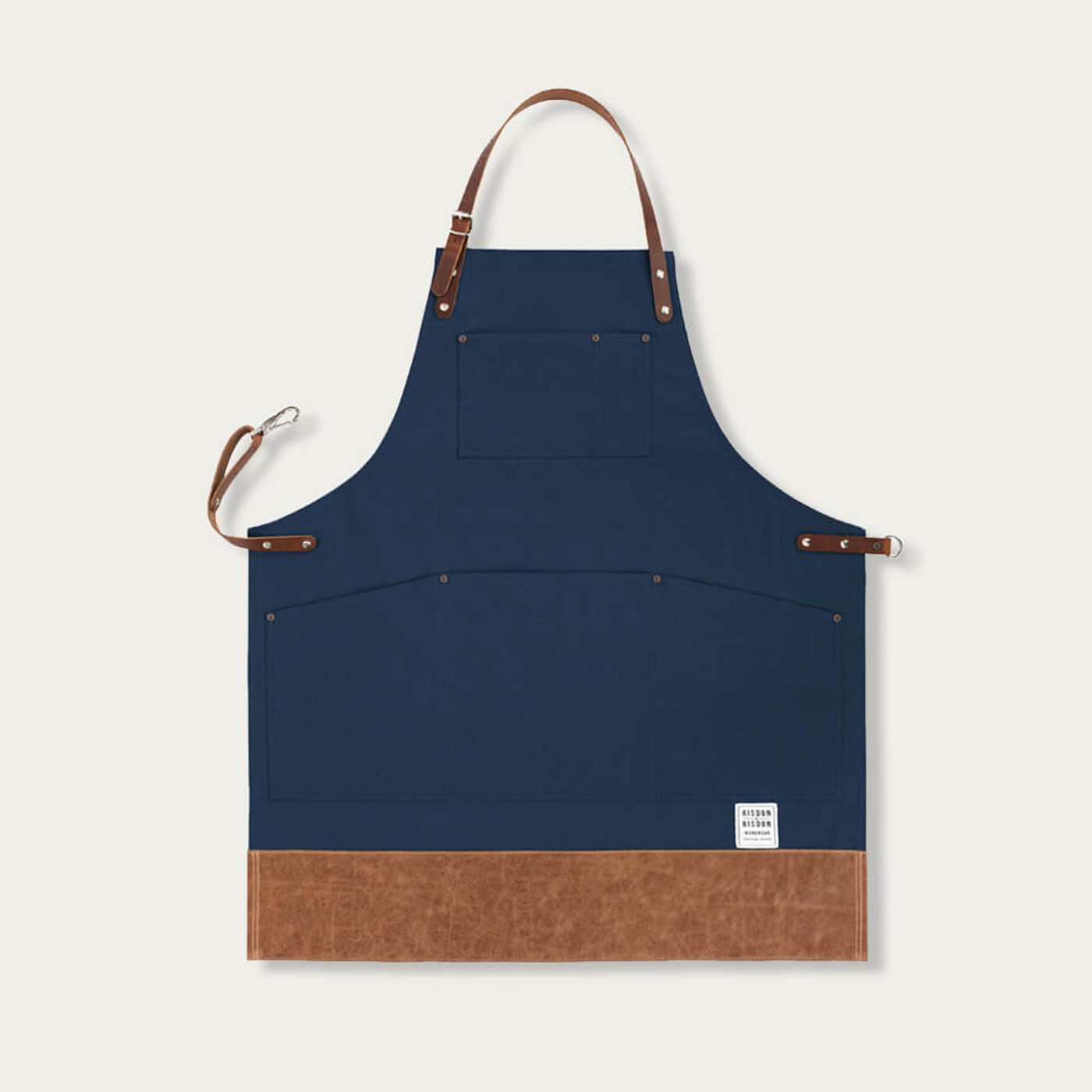 Navy Leather Trimmed Apron      Bombinate