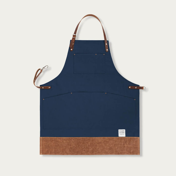 Navy Leather Trimmed Apron    | Bombinate