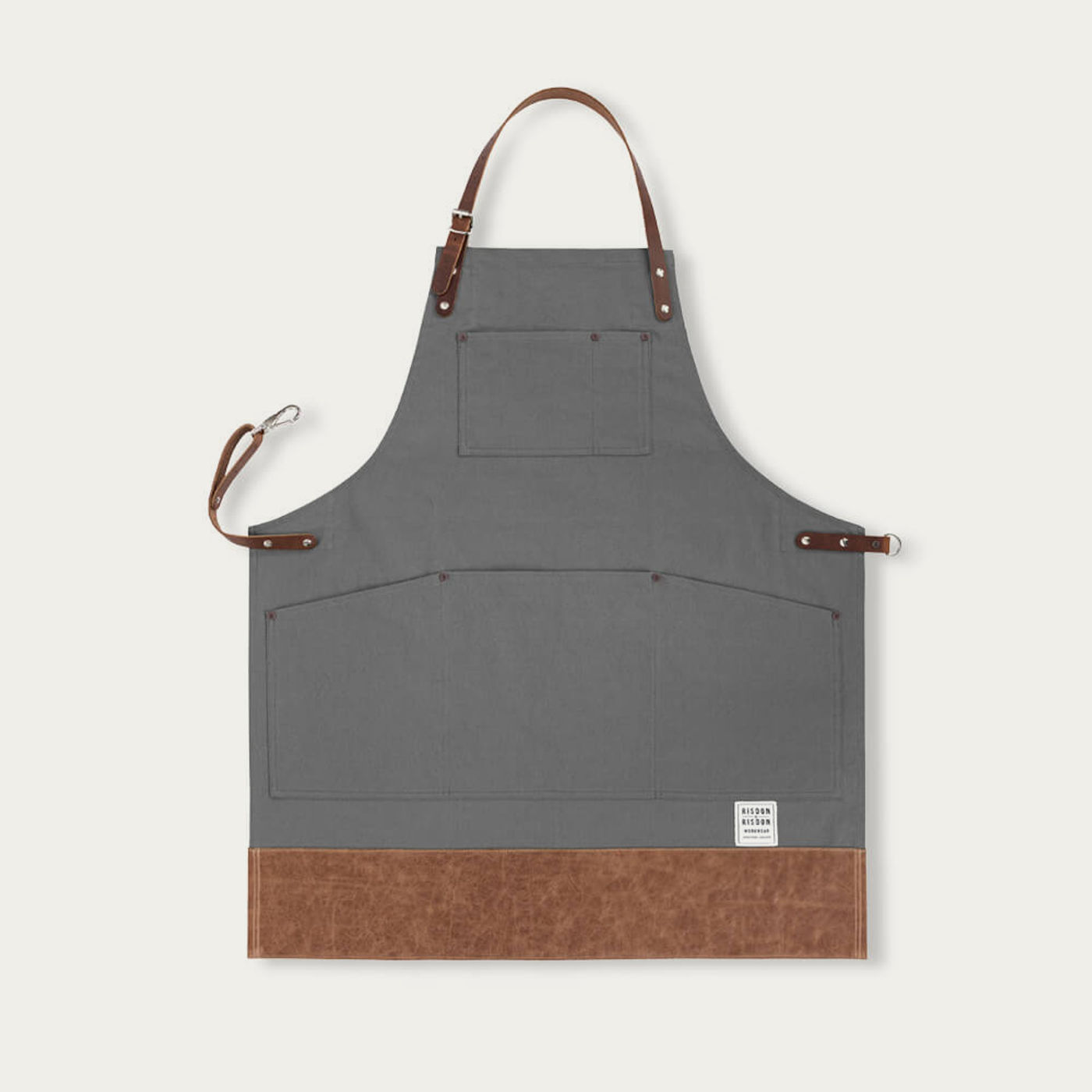 Grey Leather Trimmed Apron   | Bombinate
