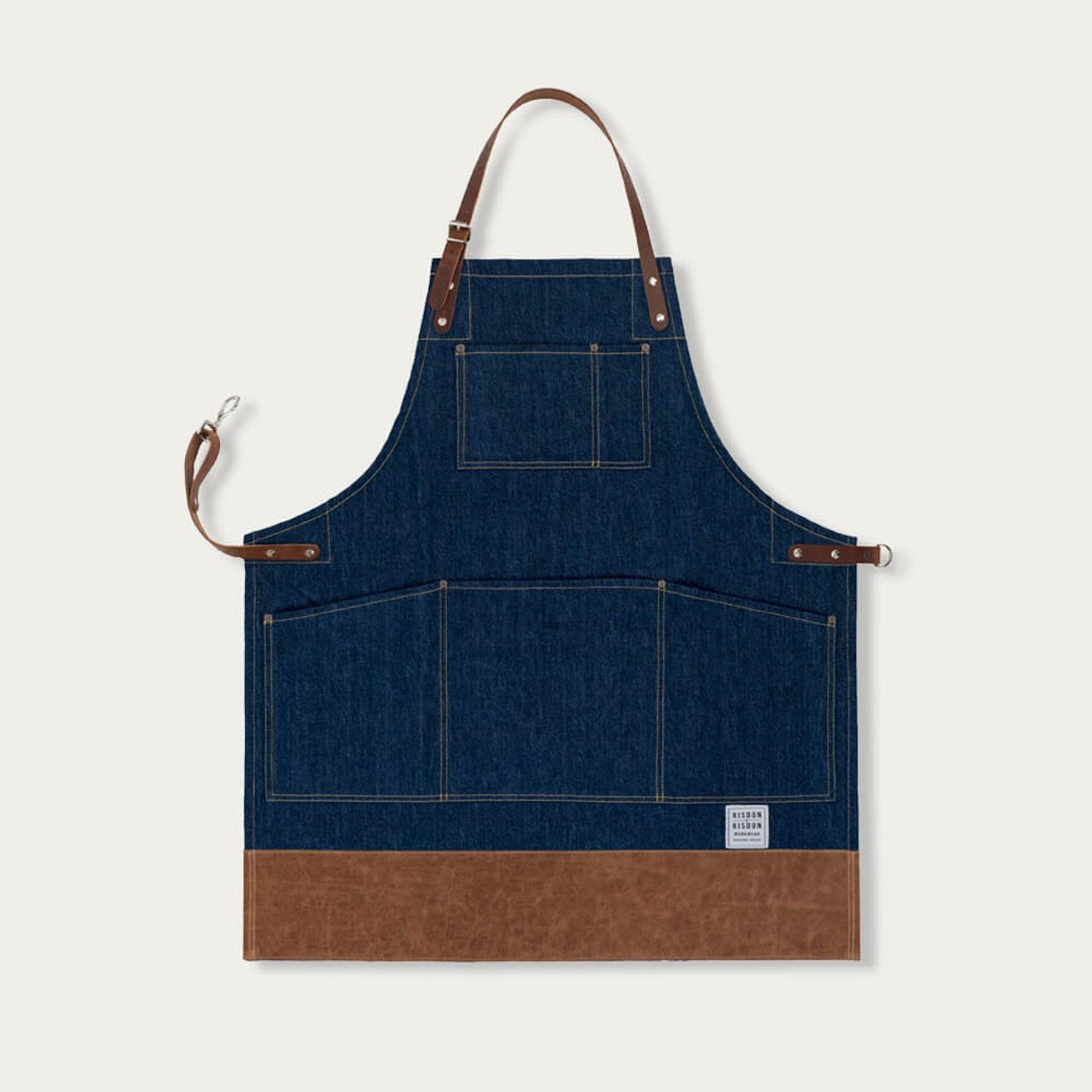 Denim Leather Trimmed Apron   | Bombinate