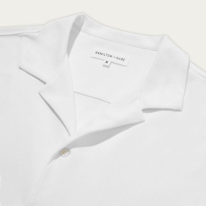 White Pique Open Collar Shirt  | Bombinate