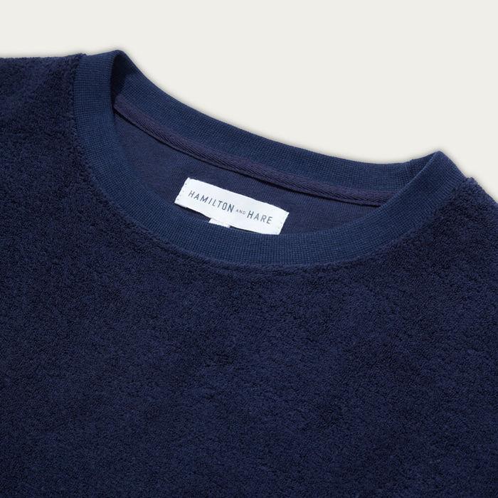 Navy Terry Towelling Sweatshirt  | Bombinate