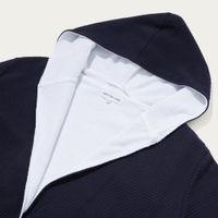Navy Waffle-White Towel Lined Robe  | Bombinate
