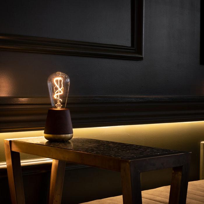 Walnut Satin Brass ONE Table Light   Bombinate