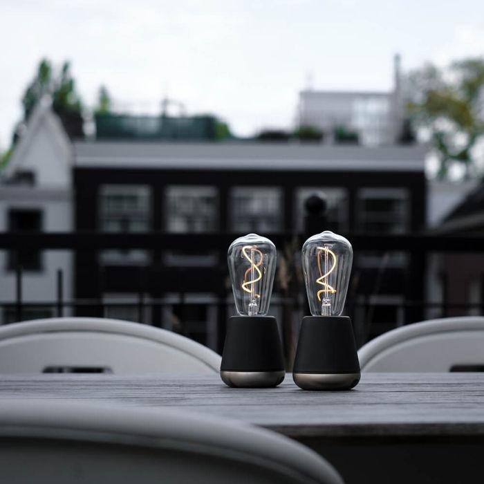 Dark Grey Satin Nickel ONE Table Light | Bombinate