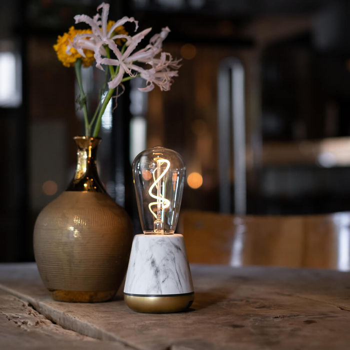 White Marble Satin Brass ONE Table Light | Bombinate